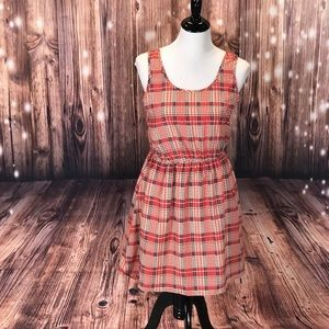 *588 Pink Owl BOW Detailed Plaid Dress